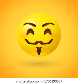 Hacker mask style emoji face with mustache and beard on yellow background