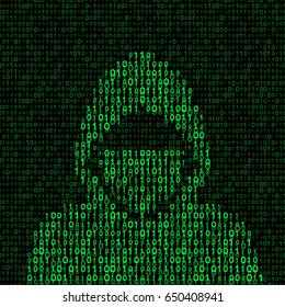 hacker on binary code background. vector illustration - eps 8