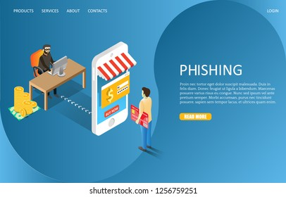 Hacker phishing landing page website template. Vector isometric illustration of cyber thief stealing money from mobile user bank account and credit card details. Hacking attack, cybercrime.