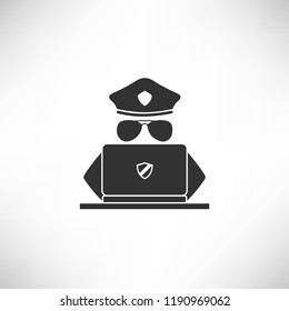 A hacker policeman with glasses hacks, secure or searching by a laptop