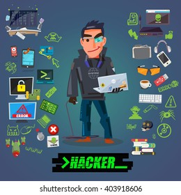 Hacker or programmer character design with icon set come with typographic for header design - vector illustration