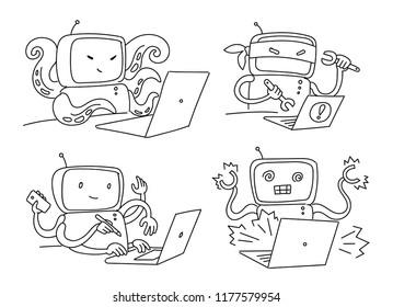 Hacker robot set 404 sketch. Hacking a computer.