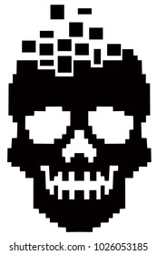 hacker sign with pixel skull,  design t shirts