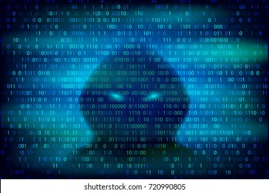 Hacker silhouette on the blue background with binary code texture. Cyber crime and cyber security conceptual vector illustration.