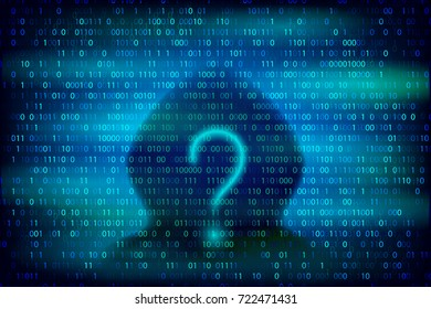 Hacker silhouette with question symbol on the blue background with binary code texture. Cybercrime and cyber security conceptual vector illustration.