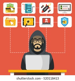 Hacker sitting at the desktop and hacking secret data on the laptop. Icon set. Flat vector illustration.