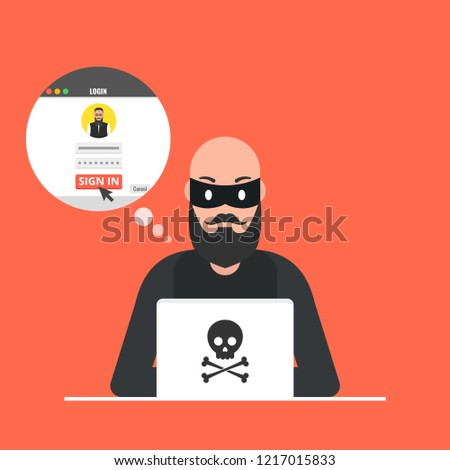 Hacker Sitting Desktop Hacking User Login Stock Vector (Royalty Free