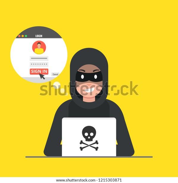 Hacker Sitting Desktop Hacking User Login Stock Vector (Royalty Free