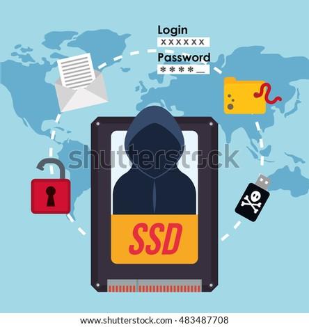 Hacker Ssd Map Padlock File Usb Stock Vector (Royalty Free