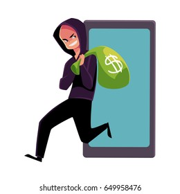 Hacker stealing money, cybercrime, Internet fraud, online scam, cartoon vector illustration isolated on white background. Cybercrime, Internet fraud illustrated as hacker running away with money bag