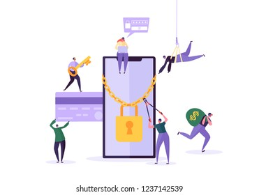 Hacker Stealing Password and Money from Smartphone. Thief Characters Hacking Mobile Phone. Fishing Attack, Financial Fraud, Web Virus Concept. Vector illustration