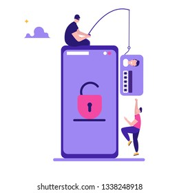 Hacker steals money and personal data. Concept of hacker attack, fraud investigation, internet phishing attack, evil win, personal privacy data, hacking and stealing email and money with tiny people.
