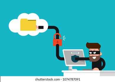 Hacker stolen data folder flat design vector.