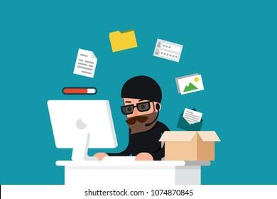 Hacker stolen data - folder, flat design vector.