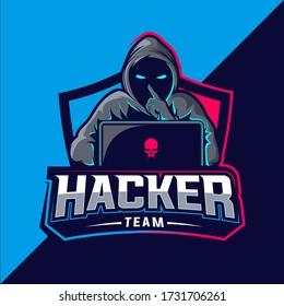 hacker team esport vector logo design