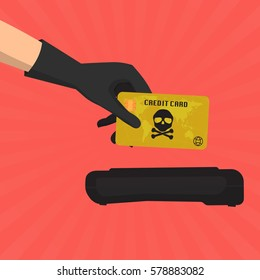 Hacker theft hand holding a credit card fraud  with skull and crossbones for paying with credit card reader on sun ray background. Vector illustration business data privacy concept.
