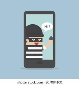 Hacker, Thief Hacking Smartphone, Business concept, VECTOR, EPS10