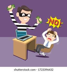 Hacker thief in mask stealing money computer crime, illustration vector cartoon