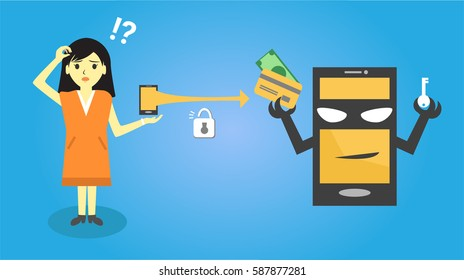 Hacker or thief stealing credit card data from woman smart phone for phishing and internet viruses