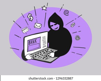 Hacker trying hack laptop internet banking email password