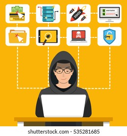 Hacker using his computer for cyber crime and hacking secret data. Icon set. Flat vector illustration.