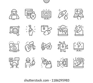 Hacker Well-crafted Pixel Perfect Vector Thin Line Icons 30 2x Grid for Web Graphics and Apps. Simple Minimal Pictogram