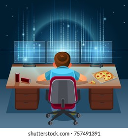 Hacker working on a code on dark digital background with digital interface around. Binary Computer Code. Programming / Coding / Hacker concept. Vector  Illustration.