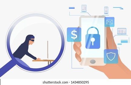 Hacker working on computer through magnifying glass. Hand holding smartphone with lock on screen, money, email, shield. Hacker attack concept. Vector illustration can be used for cybercrime or fraud