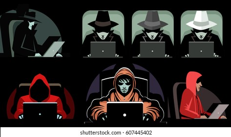 hackers black hat grey hat white hat and hoodie