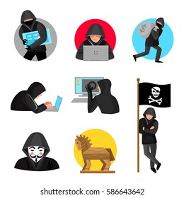 Hackers black hooded figures flat icons collection with trojan horse and jolly roger flag  isolated vector illustration