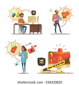 Hackers breaking bank accounts and mobile devices access crime 4 retro cartoon icons composition isolated vector illustration illustration