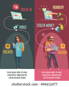 Hackers criminal activity 2 vertical banners set with man and woman breaking computer accounts isolated  cartoon vector illustration