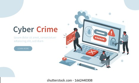 Hackers Hacking Information from Laptop and Stealing Personal Data, Credit Card and Password. Identity Theft, Cyber Crime and Internet Criminal Concept. Flat Isometric Vector Illustration.