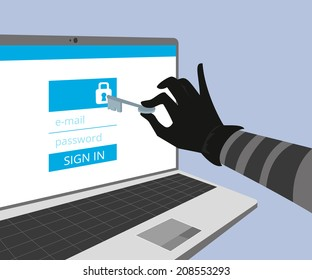 Hacking account of social networking. Thief hand hold a key and trying to hack the security of website using online authorization form with e-mail and password. Hacker uses vulnerability of secure