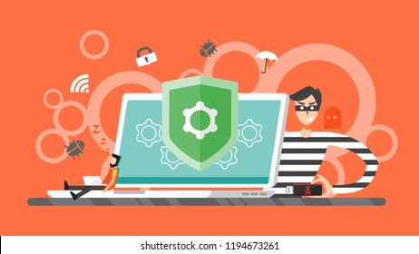 hacking concept. thief hacker trying to steal private information from laptop computer. email spam virus, Internet security, data protection, Cyber crime, cryptography. Flay Vector Illustration.