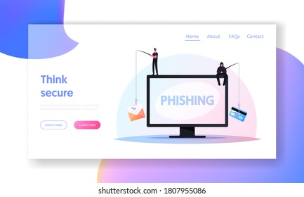 Hacking Credit Card or Personal Data Landing Page Template. Tiny Hackers Male Characters Sitting on Huge Computer with Rods Phishing via Internet, Email Spoofing, Cartoon People Vector Illustration