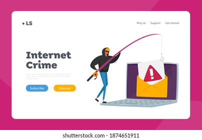 Hacking Cyber Crime Landing Page Template. Tiny Hacker Male Character with Rods Phishing Personal Data in Huge Laptop via Internet, Email Spoofing or Fishing Messages. Cartoon Vector Illustration