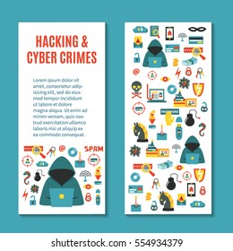 Hacking and cyber crime - vertical vector banner template with icons of gadgets and hacker's activities, title and place for your text. Flat style. For web and paper ads. Hacker attack illustration.