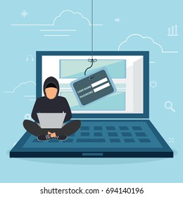 Hacking phishing attack. Flat vector illustration of young hacker sitting near white car and using laptop to hack smartcar protection system. young man with code symbols on blue background
