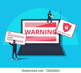 Hacking phishing attack. Flat vector illustration of young hacker sitting on the laptop to hack protection system. young man with code symbols on blue background