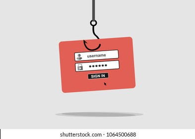 Hacking phishing attack. Internet Phishing, internet security concept. Flat design vector
