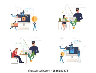 Hacking or phishing set. Hacker stealing email and credit card data. Flat vector illustrations. Cybercrime, attack concept for banner, website design or landing web page