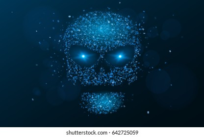 Hacking system. An abstract, luminous skull of blue color from a binary code. The data is under threat. Hi-tech and programming. Flaming, neon eyes. Vector illustration. EPS 10