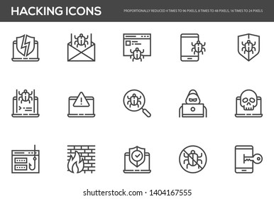 Hacking vector line icons set. Cyber virus, digital protection, hacker attack, internet security. Editable stroke. Perfect pixel icons, such can be scaled to 24, 48, 96 pixels.