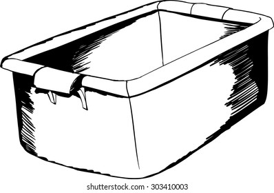 Had drawn sketch of open plastic crate