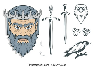Hades - the ancient Greek god of the underworld of the dead. Greek mythology. Sword of hell and the raven. Olympian gods collection. Hand drawn Man Head. Bearded man. Vector graphics to design