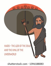 Hades the god of the dead and the king of the underworld, cartoon mythological character at background of underworld gate