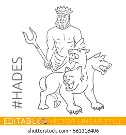 Hades. God of underworld and dead. Series Greek gods. Editable line drawing. Stock vector illustration.