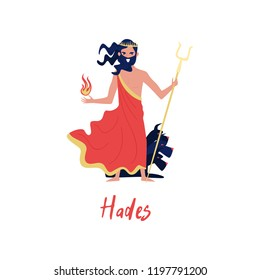 Hades Greek God, ancient Greece myths cartoon character vector Illustration on a white background