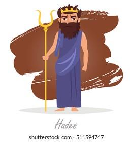 Hades. Greek gods. Vector illustration. Cartoon character. Isolated. Flat. Mythology.